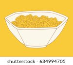 hand drawn noodle bowl. vector... | Shutterstock .eps vector #634994705