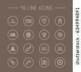 Set Of 16 Outdoor Outline Icon...