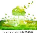 Green Tree Landscape With Bird...