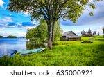 river village summer landscape | Shutterstock . vector #635000921