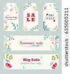 sale tags and banners with hand ... | Shutterstock .eps vector #635005211