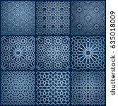 set of islamic oriental... | Shutterstock .eps vector #635018009