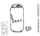 beer can and key doodle sketch. ...   Shutterstock .eps vector #635018117