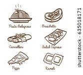 italian cuisine dishes hand...   Shutterstock .eps vector #635018171