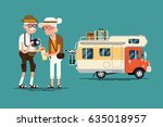 cool vector elderly couple... | Shutterstock .eps vector #635018957