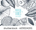 tropical palm leaves design... | Shutterstock .eps vector #635024201