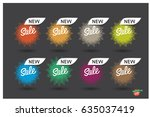 set of colorful round abstract... | Shutterstock .eps vector #635037419