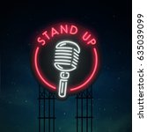 stand up sing. city sign neon.... | Shutterstock .eps vector #635039099