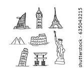 landmarks  travel  doodles | Shutterstock .eps vector #635043215