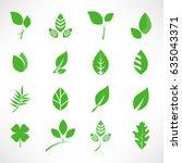 leaf icon set vector... | Shutterstock .eps vector #635043371