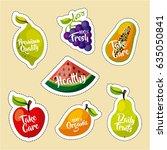 healthy organic vegetarian... | Shutterstock .eps vector #635050841