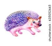 cute watercolor cartoon... | Shutterstock . vector #635052665
