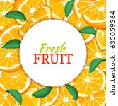 round white label on citrus... | Shutterstock .eps vector #635059364