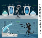 alien monster in a spaceship... | Shutterstock .eps vector #635060915