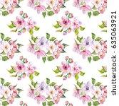seamless pattern of watercolor... | Shutterstock . vector #635063921
