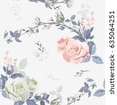 vector square floral seamless... | Shutterstock .eps vector #635064251