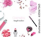 collage of cosmetic products ... | Shutterstock . vector #635067365