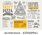 pizza food menu for restaurant... | Shutterstock .eps vector #635068961
