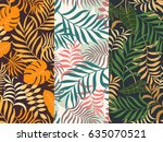 set of three seamless floral...   Shutterstock .eps vector #635070521