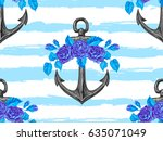 seamless sea pattern with... | Shutterstock .eps vector #635071049