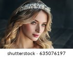 fashion portrait of model with... | Shutterstock . vector #635076197