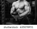 handsome power athletic man on... | Shutterstock . vector #635078951