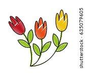cute garden flower decorative... | Shutterstock .eps vector #635079605