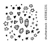 crystals  stars  flowers and... | Shutterstock .eps vector #635081231