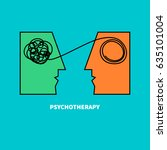 logo psychotherapy. two heads... | Shutterstock .eps vector #635101004