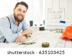 handsome bearded male architect ... | Shutterstock . vector #635103425