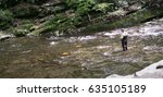 fly fishing on the river   Shutterstock . vector #635105189