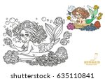 beautiful mermaid girl lies on... | Shutterstock .eps vector #635110841