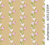 lily flower strip pattern.... | Shutterstock .eps vector #635115359