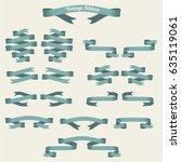 vintage ribbon set | Shutterstock .eps vector #635119061