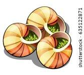 escargot  a delicious french... | Shutterstock .eps vector #635122871