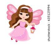 beautiful little fairy in a... | Shutterstock .eps vector #635125994