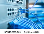 network cables connected to a... | Shutterstock . vector #635128301