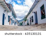 white colonial buildings in... | Shutterstock . vector #635130131