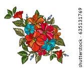 elegant hibiscus floral bouquet ...   Shutterstock .eps vector #635131769