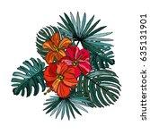 elegant hibiscus floral bouquet ... | Shutterstock .eps vector #635131901