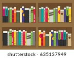 flat bookshelf. vector... | Shutterstock .eps vector #635137949