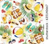 beach holiday. watercolor...   Shutterstock . vector #635140667