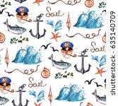 nautical. watercolor seamless... | Shutterstock . vector #635140709
