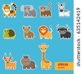 animals of africa. cute animals ... | Shutterstock .eps vector #635142419