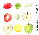 watercolor hand drawn red green ... | Shutterstock . vector #635147981