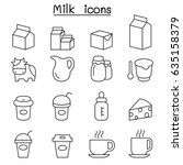 milk icon set in thin line style | Shutterstock .eps vector #635158379