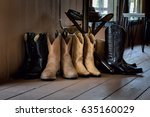 many pairs of cowboy boots on...   Shutterstock . vector #635160029