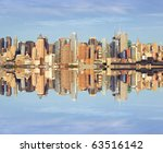 photo afternoon vibrant capture of new york midtown over hudson - stock photo