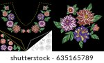 embroidery neckline design.... | Shutterstock .eps vector #635165789