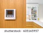 intercom video door bell on... | Shutterstock . vector #635165957